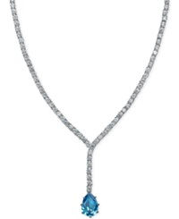 B. Brilliant Aquamarine 4 Ct. T.W. And Cubic Zirconia Pendant Necklace In Sterling Silver