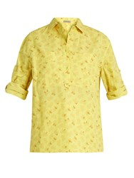 Bottega Veneta Butterfly Print Cotton And Linen Blend Shirt Yellow Print