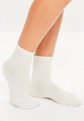 Missguided White Stud Detail Ankle Socks