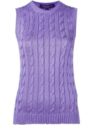 Ralph Lauren Purple Cable Knit Crew Neck Tank Top Pink And Purple
