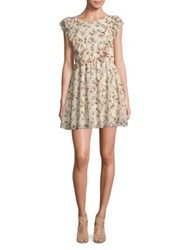 Molly Bracken Floral Print Ruffled Sheath Dress Off White