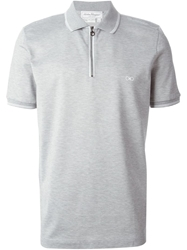 Salvatore Ferragamo Zip Front Polo Shirt Grey