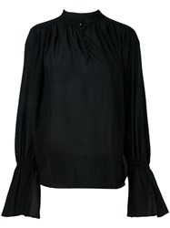 Le Ciel Bleu Buttoned Sheer Blouse Black