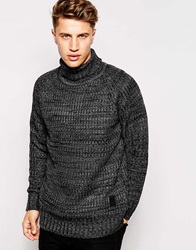 Brave Soul Chunky Roll Neck Jumper Black