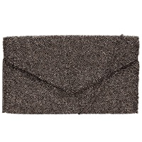 John Lewis Fabric Beaded Pouch Gunmetal