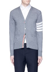 Thom Browne Stripe Sleeve Merino Wool Cardigan Grey