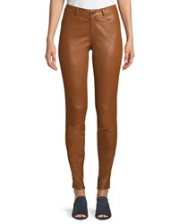 Lafayette 148 New York Mercer Mid Rise Leather Skinny Jeans Vicuna