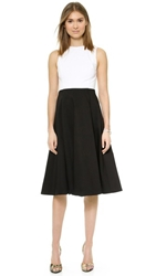 Alice Olivia Box Pleat Midi Dress White Black