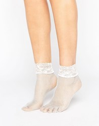 Asos Lace Trim Fishnet Socks White
