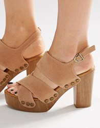 Lost Ink Roma Nude Wooden Heeled Clog Sandals Nude Beige