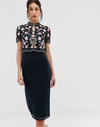 Frock And Frill Floral Star Embellished Midaxi Dress With Keyhole Kimono Collar In Navy