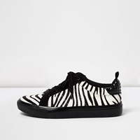 River Island Womens Black Zebra Print Lace Up Trainers