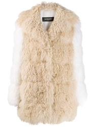 Simonetta Ravizza Shearling Mid Length Coat Neutrals