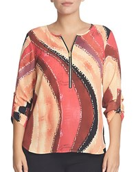 Chaus Dreamy Voyage Zip Front Blouse Red
