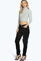 Boohoo Button Fly Distressed Boyfriend Jeans Black