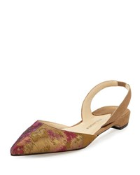 Paul Andrew Rhea Suede And Brocade Slingback D'orsay Flat Gold