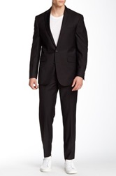 Kenneth Cole Reaction Solid Black Two Button Peak Lapel Suit