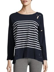 Sundry Long Sleeve Distressed Drop Shoulder T Shirt Navy