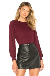 David Lerner Bishop Sleeve Raglan Pullover Burgundy