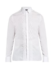 Lanvin Single Cuff Pleated Bib Cotton Shirt White