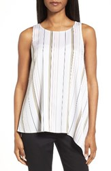 Nordstrom Women's Collection Stretch Silk Side Drape Top Ivory Green Variegated Stripe