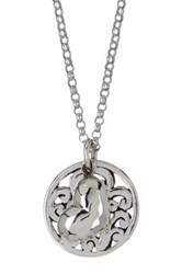 Lois Hill Sterling Silver Open Scroll Pendant And Flower Charm Necklace Metallic