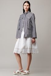 Suno Linen Striped Patch Pocket Jacket Blue White