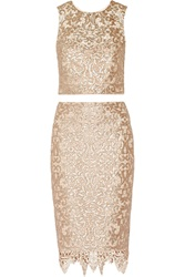 Badgley Mischka Sequined Metallic Macrame Cropped Top And Skirt Set Pink