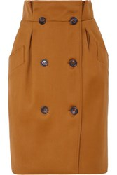 Max Mara Button Embellished Wool Skirt Brown