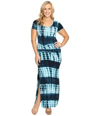 Culture Phit Carlia Short Sleeve Gathered Maxi Dress Navy Aqua Women's Dress Multi