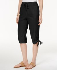 Karen Scott Drawstring Cropped Pants Only At Macy's Deep Black