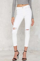 Nasty Gal Res Denim Kitty Cropped Skinny Jeans White