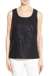 Women's Lafayette 148 New York 'Cleo' Sequin Front Sleeveless Linen Blouse Black