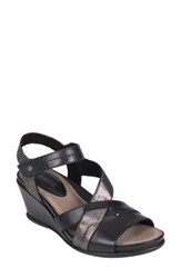Earth 'S Thistle Wedge Sandal Black Leather