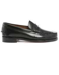 Sebago Black Leather Boating Shoes With Leather Sole