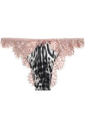 Roberto Cavalli Leopard Print Satin And Corded Lace Low Rise Thong Blush