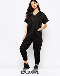 Reclaimed Vintage Utility Casual Jumpsuit With Button Front Black