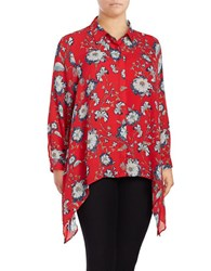 Context Plus Long Sleeve Floral Button Down Shirt Red Combo