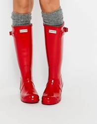 Hunter Original Tall Gloss Military Red Adjustable Wellington Boots Military Red Gloss