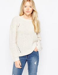 Brave Soul Chunky Knit Ribbed Jumper Cream