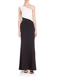 Laundry By Shelli Segal Platinum One Shoulder Colorblock Gown Black