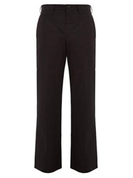 Valentino Logo Print Cotton Blend Trousers Black