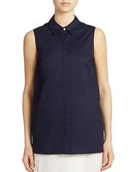 Lord And Taylor Petite Button Back Blouse Evening Blue