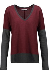 Chelsea Flower Two Tone Waffle Knit Cotton Blend Sweater Burgundy