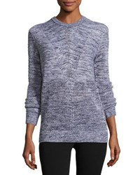 Vince Marled Long Sleeve Pullover Sweater Blue White