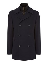 Linea Men's Camargue Double Breasted Wool Coat Navy