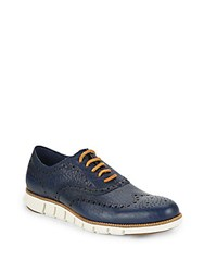 Cole Haan Zerogrand Wingtip Leather Oxfords Marine Blue