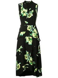 Proenza Schouler Tiered Floral Print Dress Black
