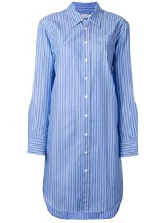 Dondup Striped Shirt Dress Blue