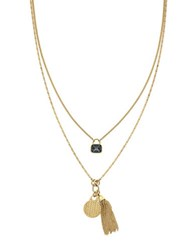 Cole Haan Goldtone Brass Disc And Tassel Layered Pendant Necklace